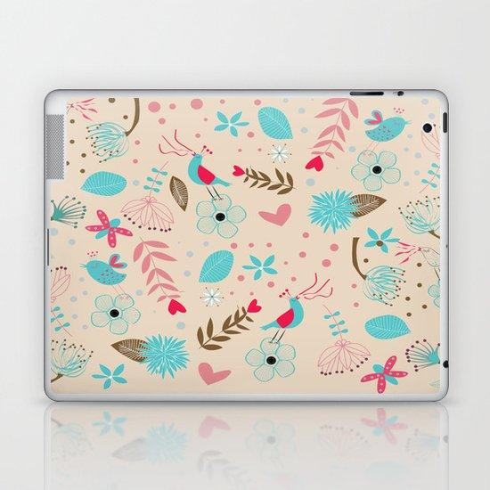 Singing birds in flowers Laptop & iPad Skin
