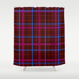 grid check layer_eggplant Shower Curtain