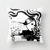 cigarette Throw Pillows featuring Cigarette by alexflasher