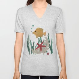 Angelfish, Starfish, Sea Creatures  Unisex V-Neck