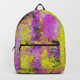 vintage psychedelic painting texture abstract in pink and yellow with noise and grain Backpack