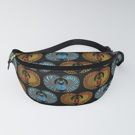 Egyptian Scarab Beetle Pattern - Gold  Blue  and red glass Fanny Pack