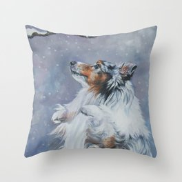 SHELTIE Shetland Sheepdog dog art from an original painting by L.A.Shepard Throw Pillow