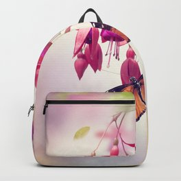 Red and Purple Fuchsia Flowers and butterfly Backpack
