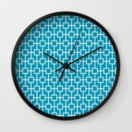 Blue Green Lattice Pattern Wall Clock