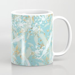 Golden Peacock Feather Pattern 04 Coffee Mug