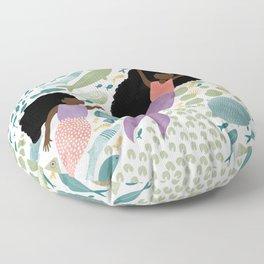Mermaids and Fish in the Ocean Floor Pillow