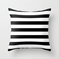 stripes Throw Pillows featuring Horizontal Stripes (Black/White) by 10813 Apparel