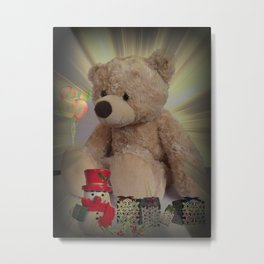 Barnaby Bear's Christmas Cushion. Metal Print