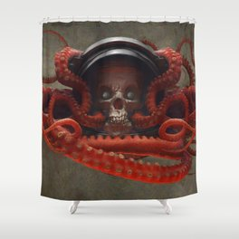 Tentacles & Skull Color Shower Curtain