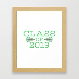 Class of 2019 Lacrosse - Green Framed Art Print