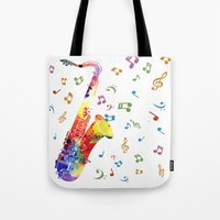 saxophone Tote Bags featuring Saxophone by Miss L in Art