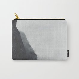 Black And White Misty Cliff Photography Mystery Foggy Landscape Carry-All Pouch