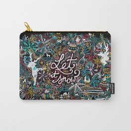'Let It Snow' Christmas Doodle Drawing Carry-All Pouch