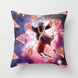 Thug Space Sloth On Goat Unicorn - Pizza Throw Pillow