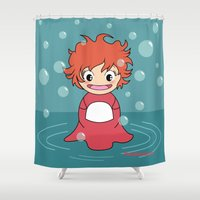 ponyo Shower Curtains featuring Kokeshi Ponyo by Pendientera
