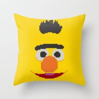 knit Throw Pillows featuring Knit Bert by colli1 3designs