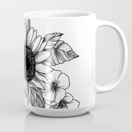 Bouquet of Flowers with Sunflower / Fall floral lineart Coffee Mug