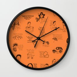 Gilmore Girls Quotes in Orange Wall Clock