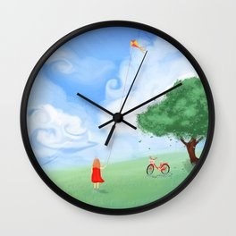 Outdoor Playing Girl Wall Clock
