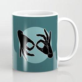 Sign Language (ASL) Interpreter – Black on Turquoise 07 Coffee Mug