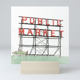 Public Market Seattle Pike Street Fish Neon Sign Northwest Washington Mini Art Print