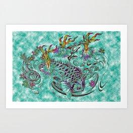 Koi with flaming lotus flowers Art Print
