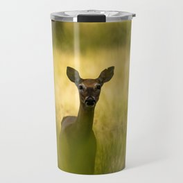 Keeping Tabs - Watchful Young Deer Through Tree Leaves in Wyoming Travel Mug