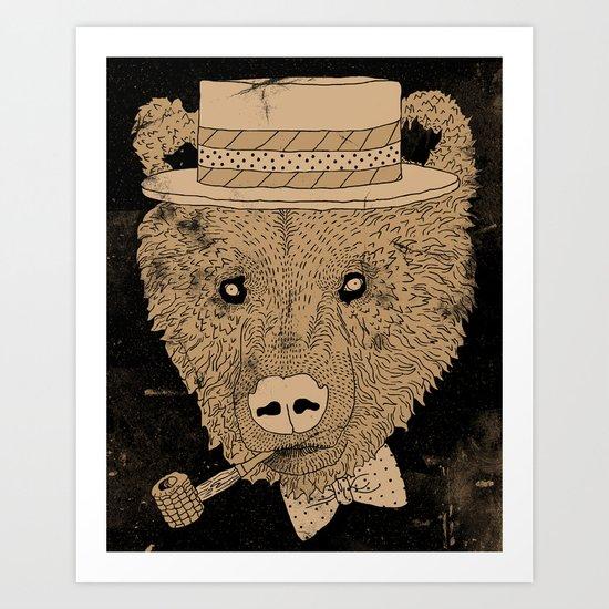 Barber Shop Bear Art Print