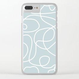 Doodle Line Art | White Lines on Silvery Blue Clear iPhone Case