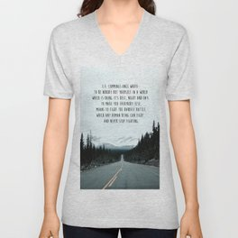 Quote for The Road Unisex V-Neck