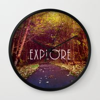 explore Wall Clocks featuring explore by Sylvia Cook Photography