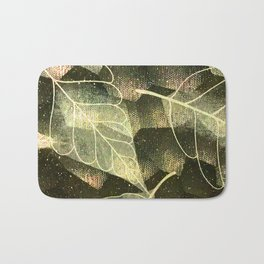 Transparent Abstract Leaves in Magical Green Hues Bath Mat