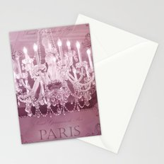 Paris Pink White Sparkling Crystal Chandelier Wall Art and Home Decor Stationery Cards