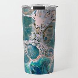 Blue Unique Fluid Pour Acrylic Painting Travel Mug