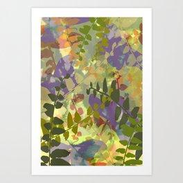 Green Butterfly Jungle Art Print