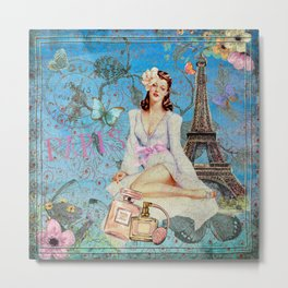 Paris - mon amour - Fashion Girl In France Eiffel tower Nostalgy - French Vintage Metal Print