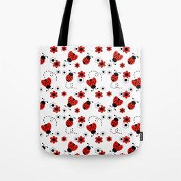 Red Ladybug Floral Pattern Tote Bag