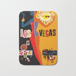 Vintage Las Vegas Travel Poster Bath Mat