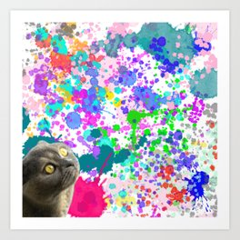 Cat And Paint Splashes Art Print
