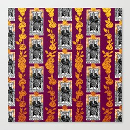 Tarot The Emperor - A Floral Tarot Pattern Canvas Print