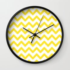 funky chevron yellow pattern Wall Clock