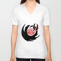 hiccup V-neck T-shirts featuring How To Train Your Dragon (Hiccup's Shield) by KitsuneDesigns