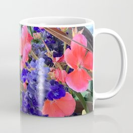 Yellow Daisies, Periwinkle Blue And Red Flowers Coffee Mug