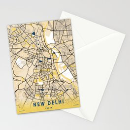 New Delhi Yellow City Map Stationery Cards