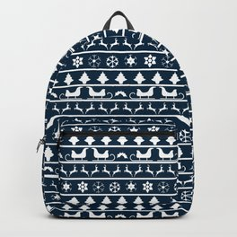 Midnight Blue & White Christmas Sweater Knit Pattern Backpack