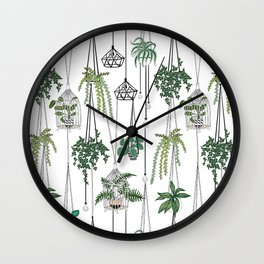 hanging pots pattern Wall Clock