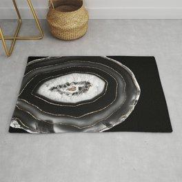 Gray Black White Agate with Gold Glitter #5 #gem #decor #art #society6  Rug