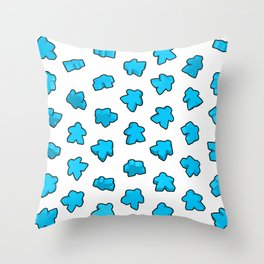 Meeple Mania Icy Blue Throw Pillow