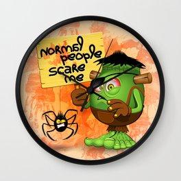 'Normal People Scare Me' Humorous Frankenstein Character Wall Clock